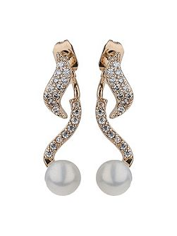 Twisted spiral pearl drop earring