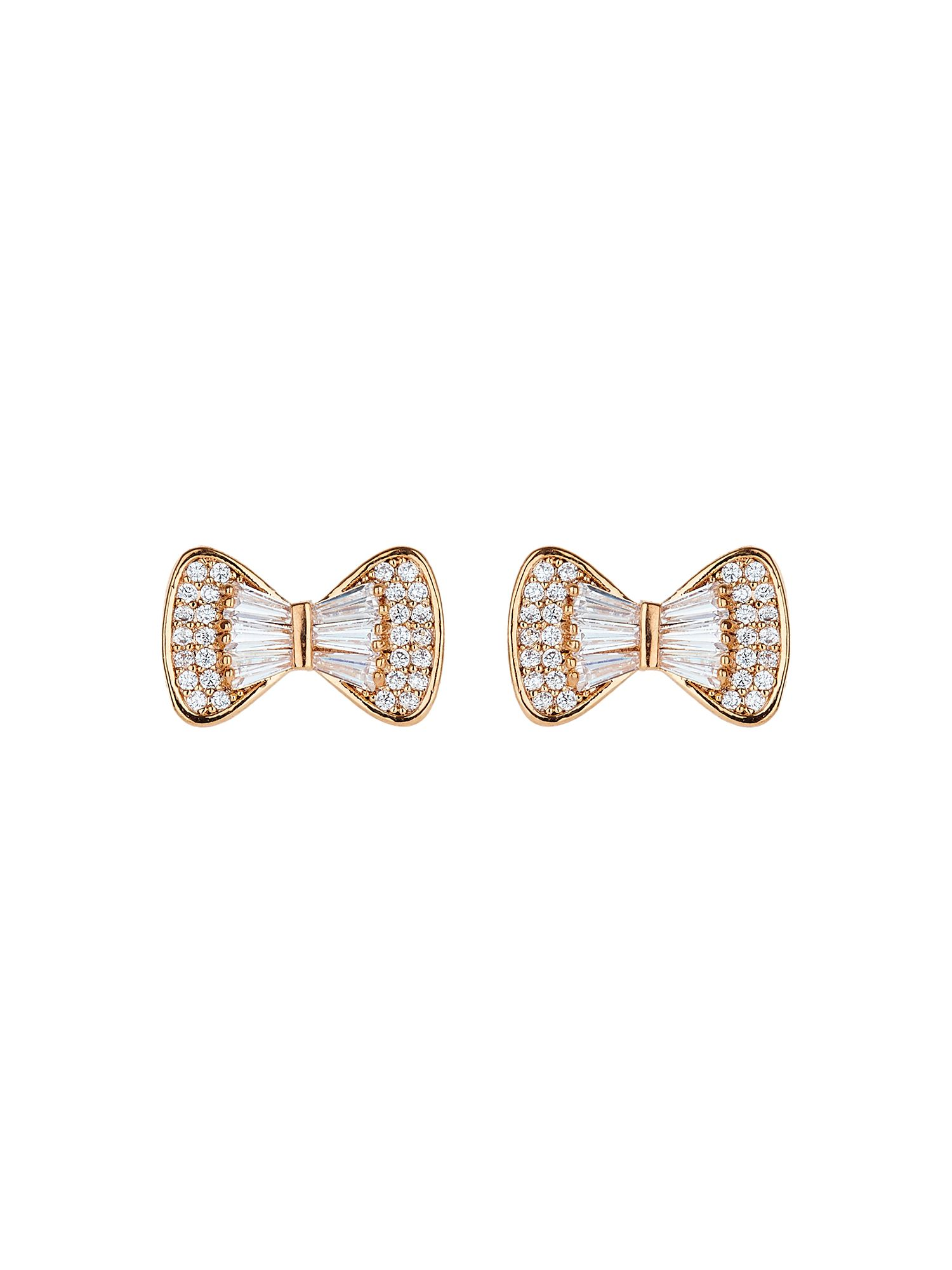 Mikey Bow design baugette cubic stud earring, Rose Gold
