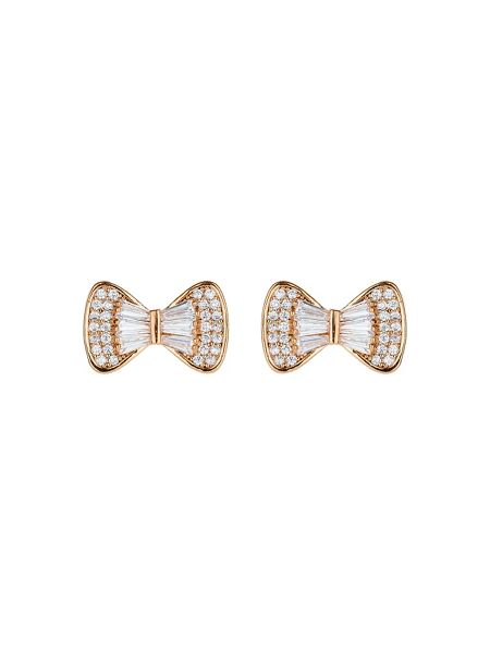 Mikey Bow design baugette cubic stud earring