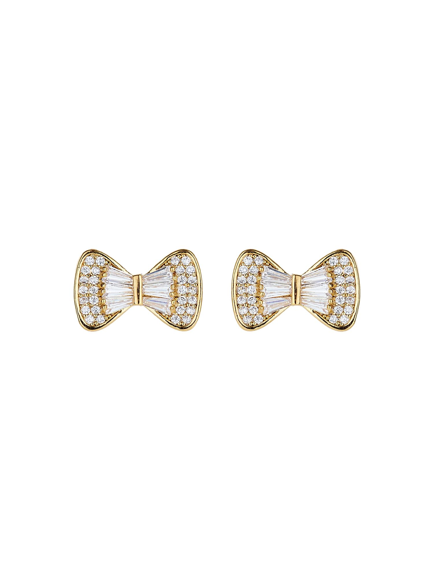 Mikey Bow design baugette cubic stud earring, Gold