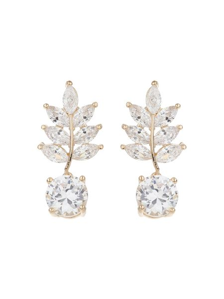 Mikey Drop leaf cubic stone earring