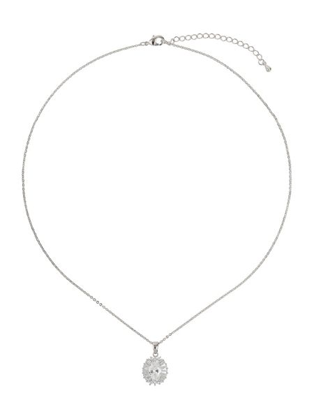 Mikey Oblong cubic baugette surround necklace