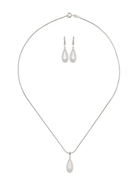 Mikey Oval Cubic Pendant Hoop Earring Set