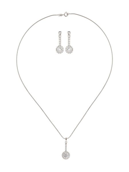 Mikey Circle Cubic Pendant Drop Earring Set