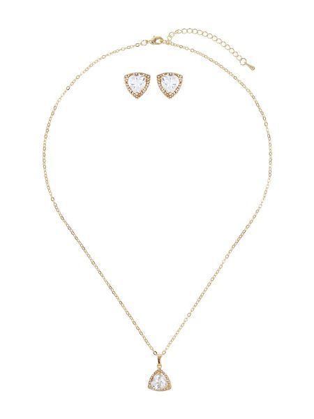 Mikey Heart cubic pendant earring set