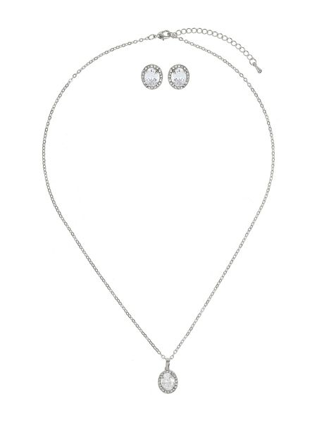 Mikey Oval cubic pendant earring set