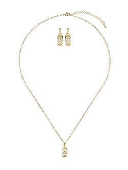 Curved net cubic pendant earring set