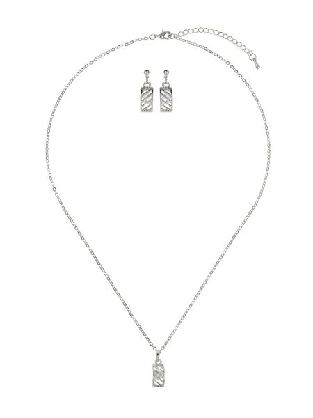 Mikey Curved net cubic pendant earring set