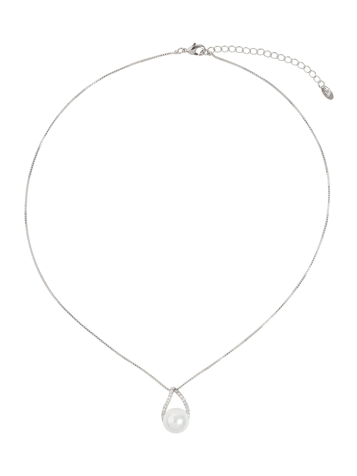 mikey twisted oval design pearl pendant