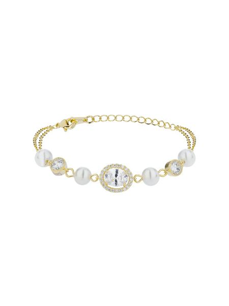 Mikey Oblong cubic stone pearl linked bracelet