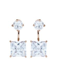 Mikey Square cubic cuff drop earring