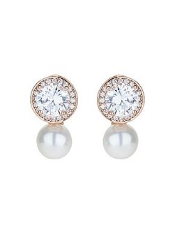 Round cubic stud pearl drop earring