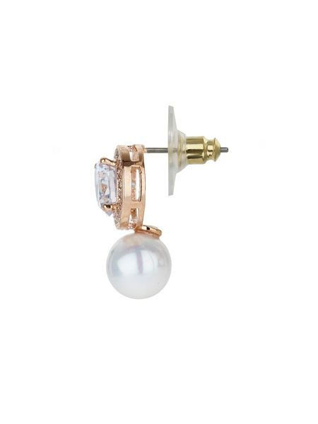 Mikey Round cubic stud pearl drop earring