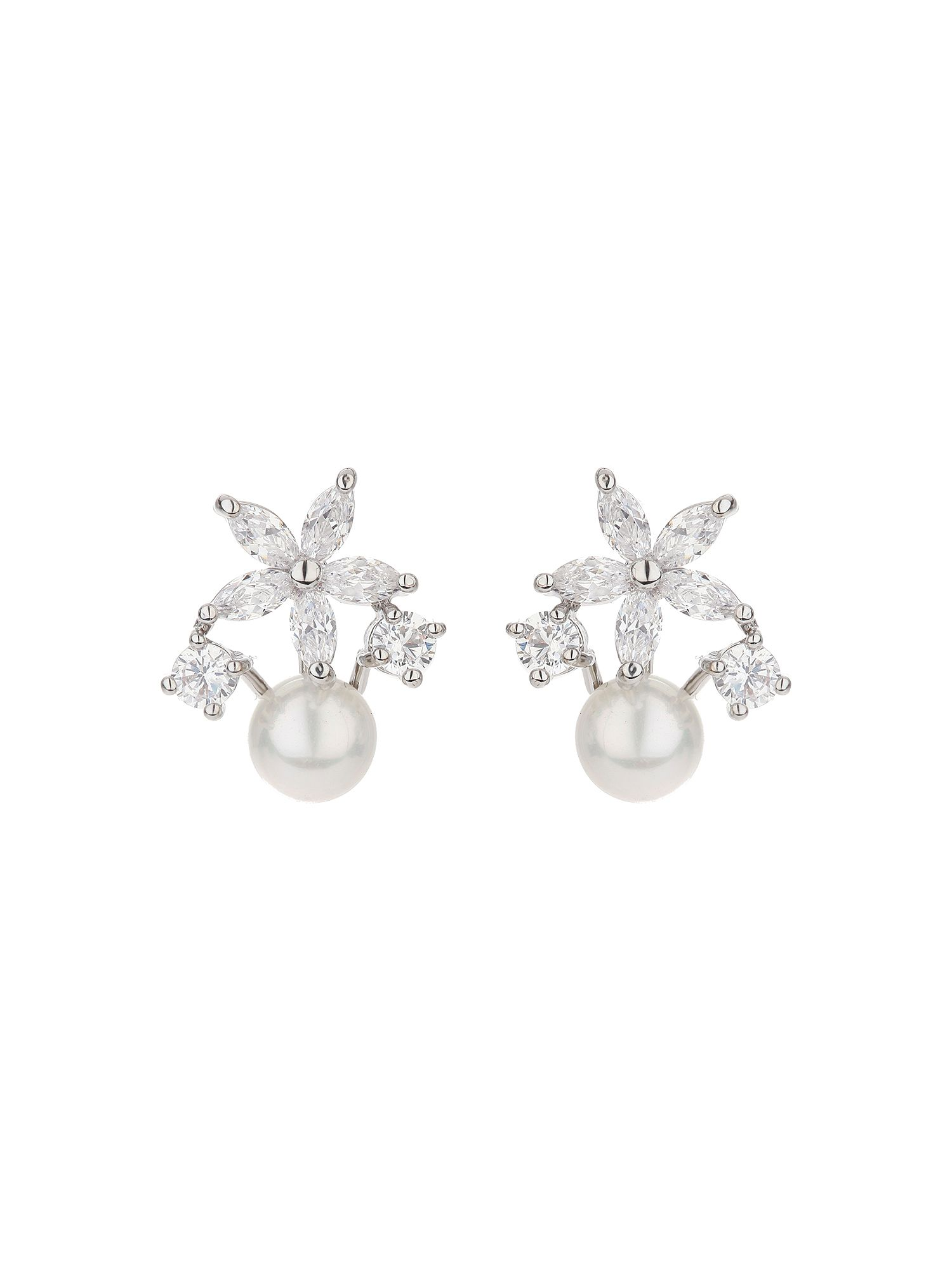 mikey star flower stud drop pearl earring