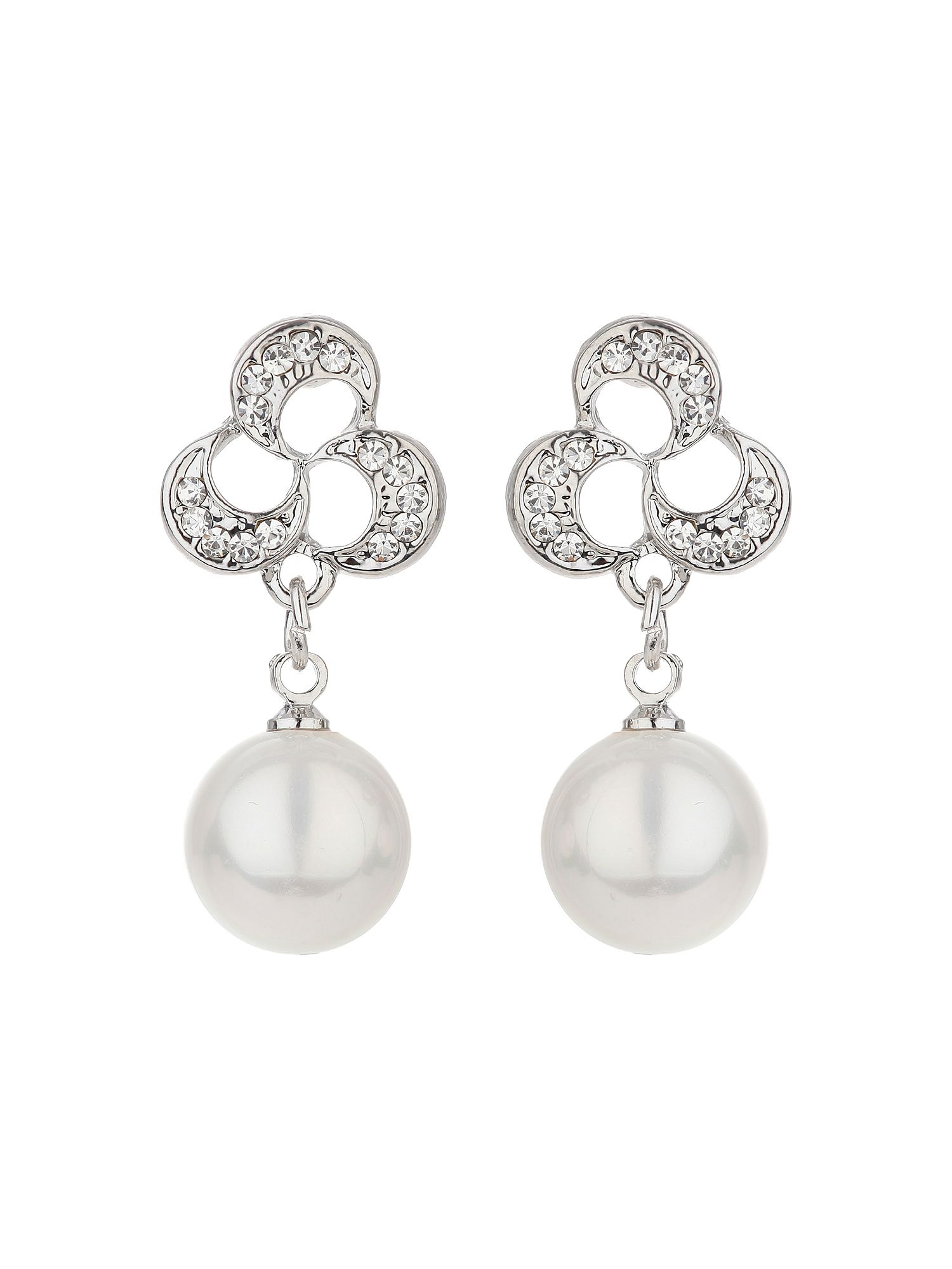 mikey knot design stud drop pearl earring