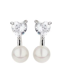 Heart design stud drop pearl earring