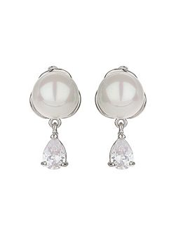 Pearl stud hanging cubic earring