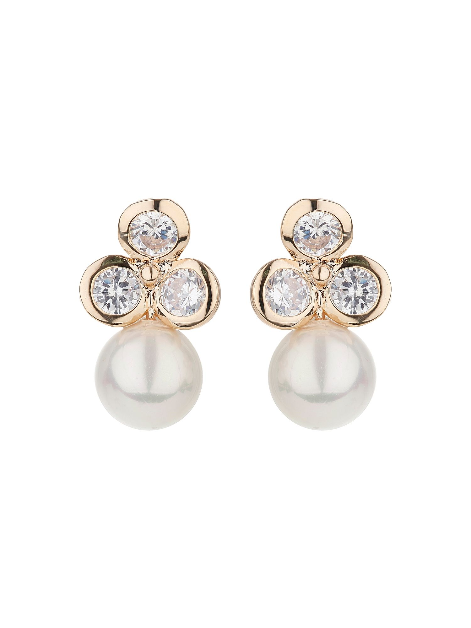 mikey triple design stud drop pearl earring