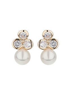 Triple design stud drop pearl earring