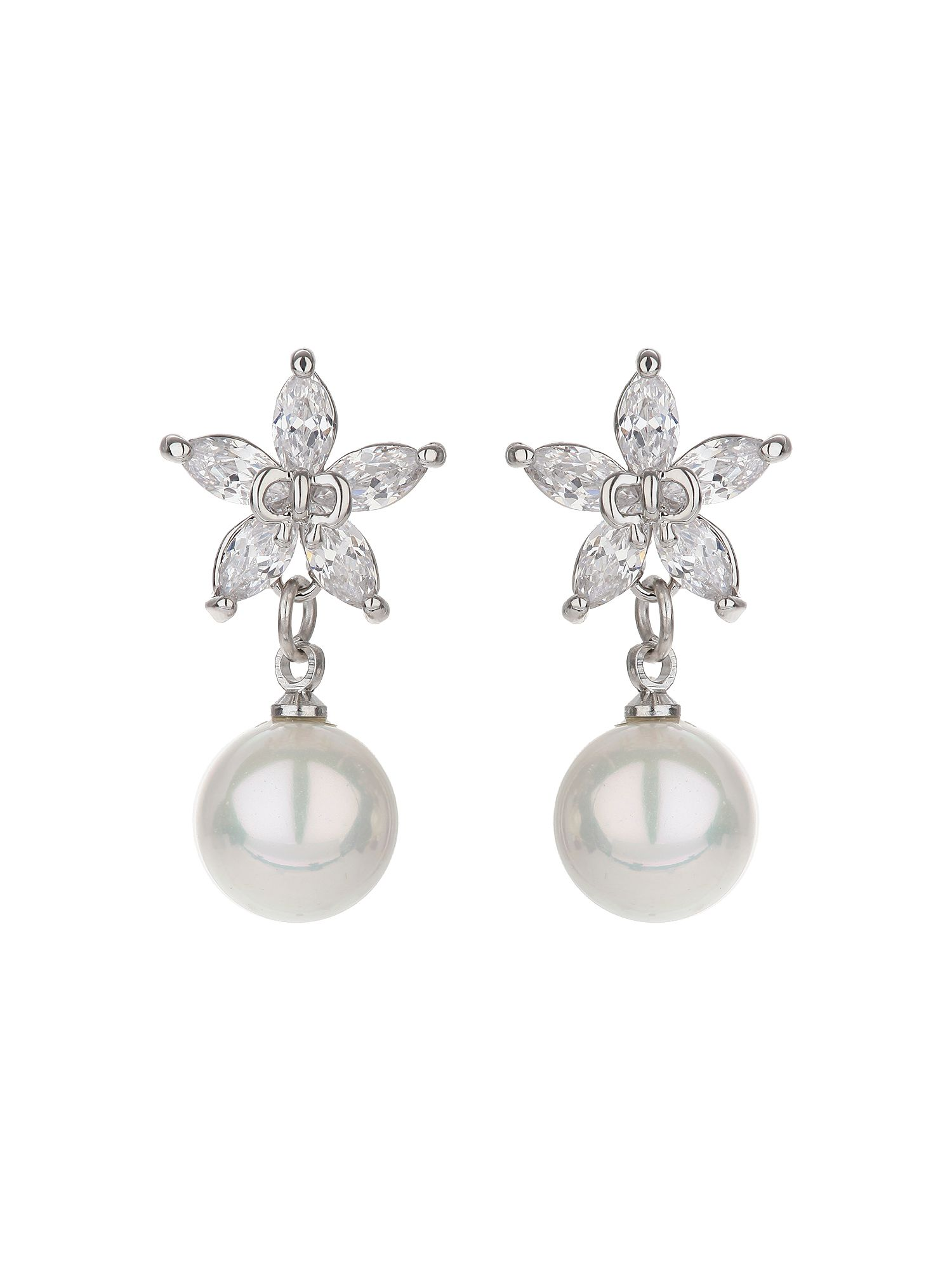 mikey star design stud drop pearl earring