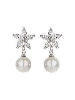 Star design stud drop pearl earring