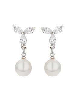 X design stud pearl drop earring