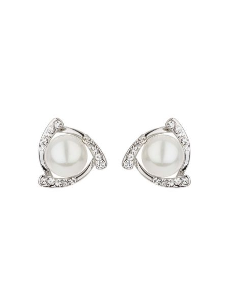 Mikey Pearl stud crystal croos over earring