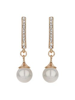 Crystal stem stud pearl drop earring
