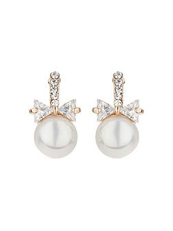 Bow design pearl drop earring
