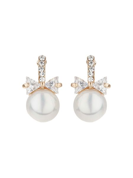 Mikey Bow design pearl drop earring