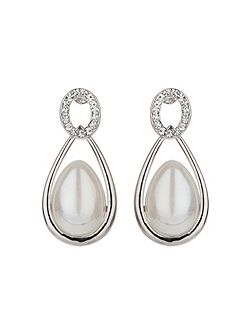 Oval stud eclipse pearl drop earring