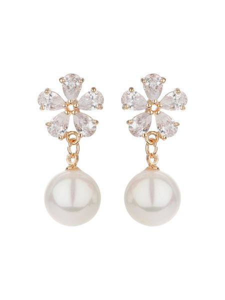 Mikey Flower design hanging pearl earring