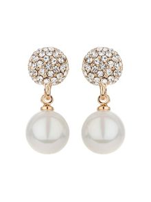 Mikey Crystal ball stud pearl drop earring