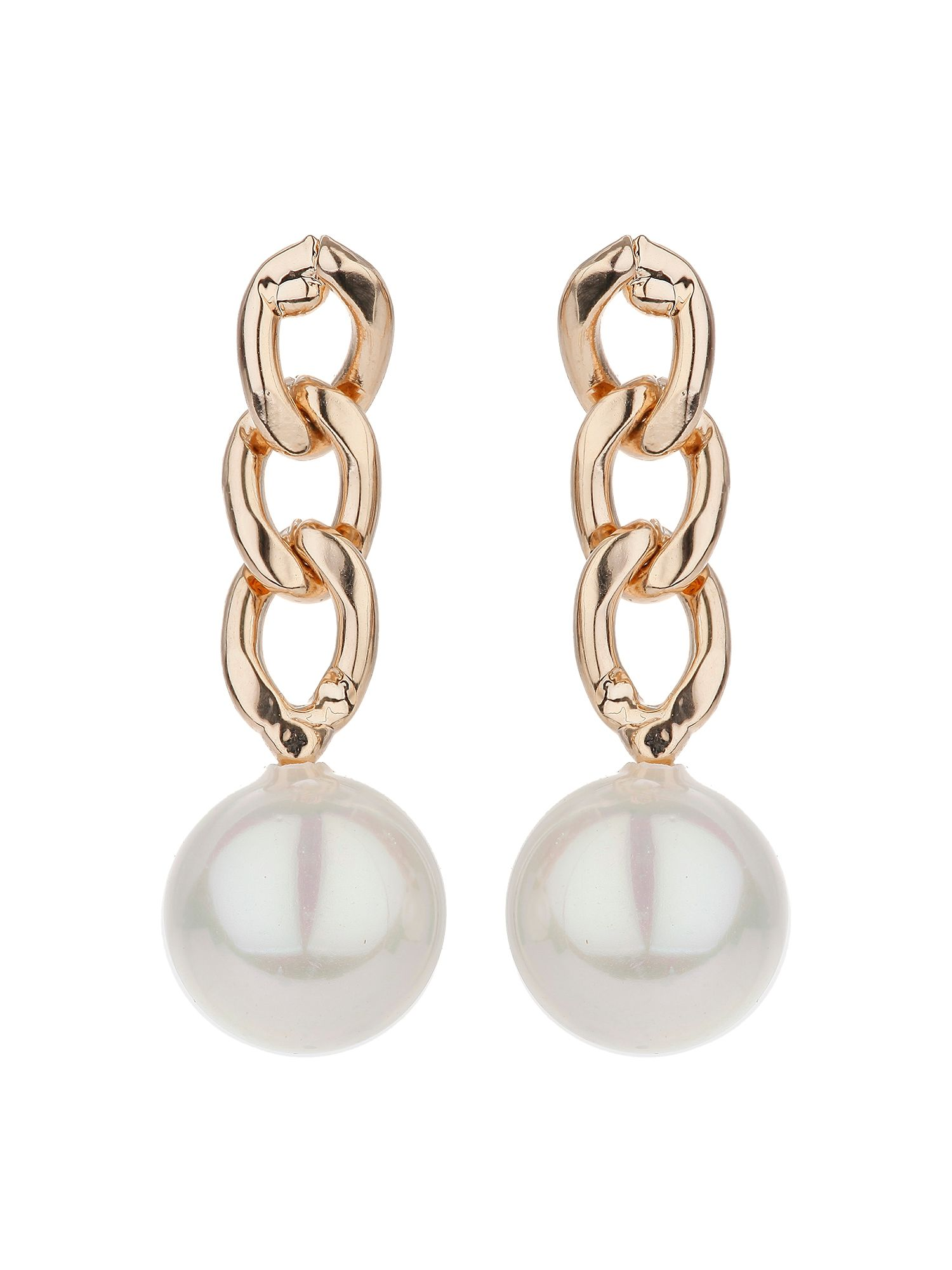 mikey chain drop pearl earring
