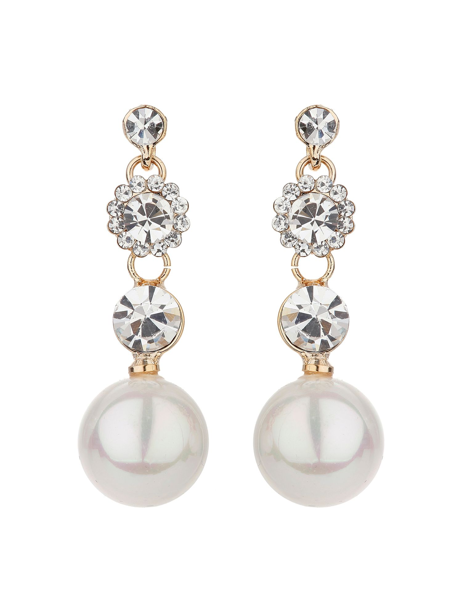 mikey triple crystal drop pearl earring