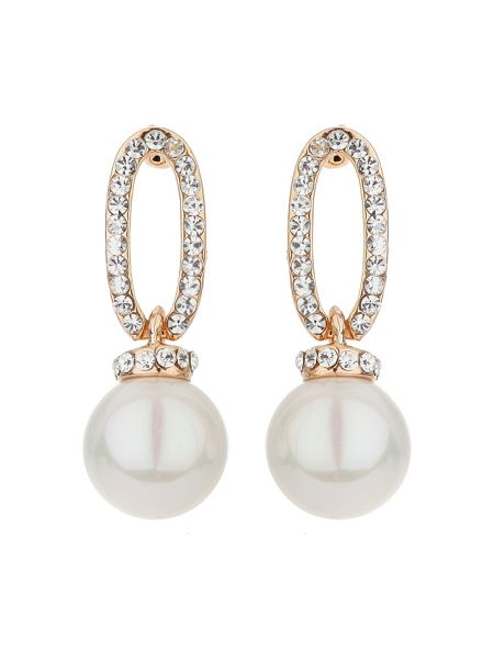 Mikey Oblong crystal drop pearl earring