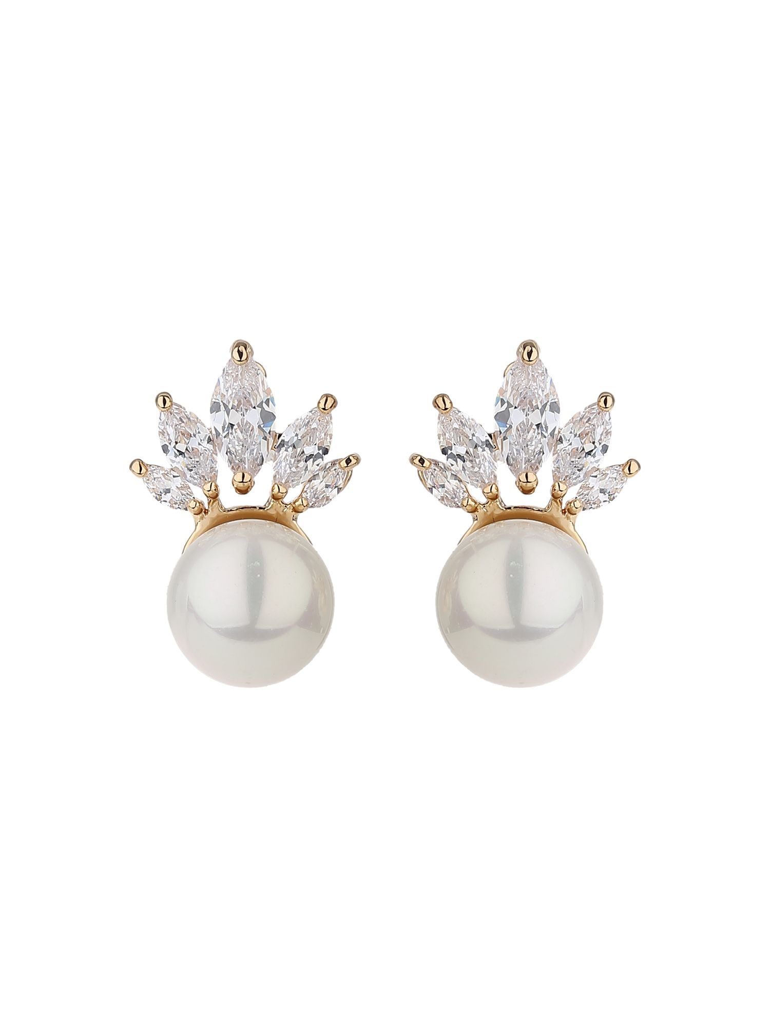 mikey crown crystal design pearl drop earring