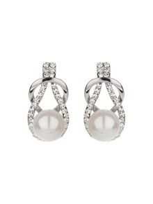 Mikey Racket design crystal pearl earring