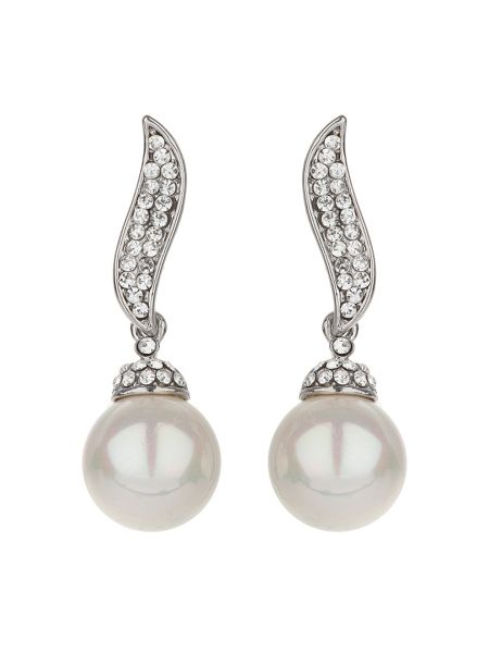 Mikey Twisted stem pearl drop earring