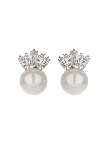 Mikey Baugette crown pearl earring