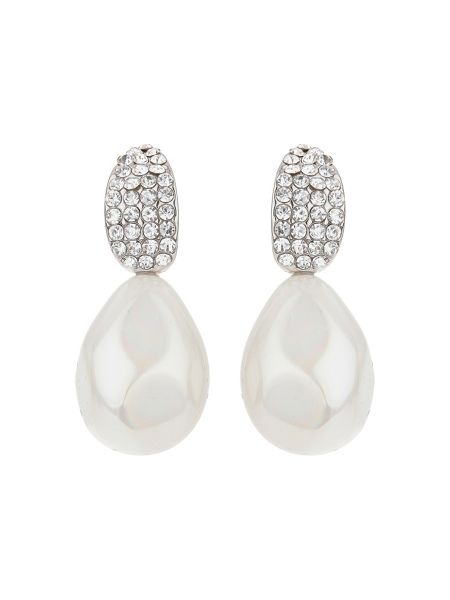 Mikey Curved crystal shape pearl drop earring