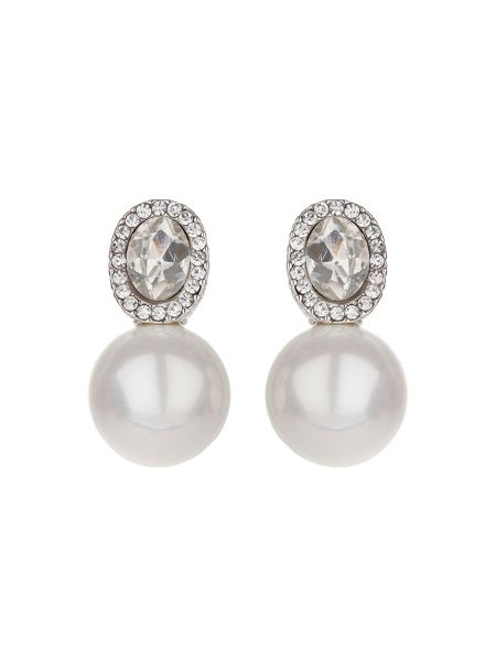 Mikey Oblong crystal stud pearl earring