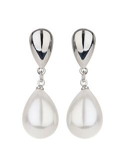 Plain oval clip pearl drop earring