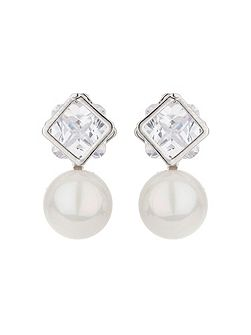 Square crystal stud pearl drop earring