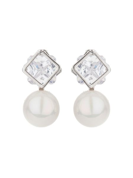 Mikey Square crystal stud pearl drop earring