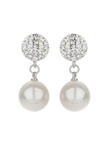 Mikey Crystal disc stud pearl drop earring