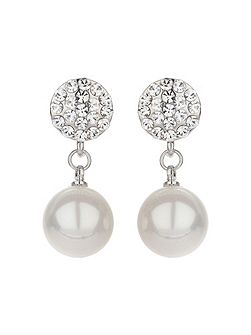 Crystal disc stud pearl drop earring