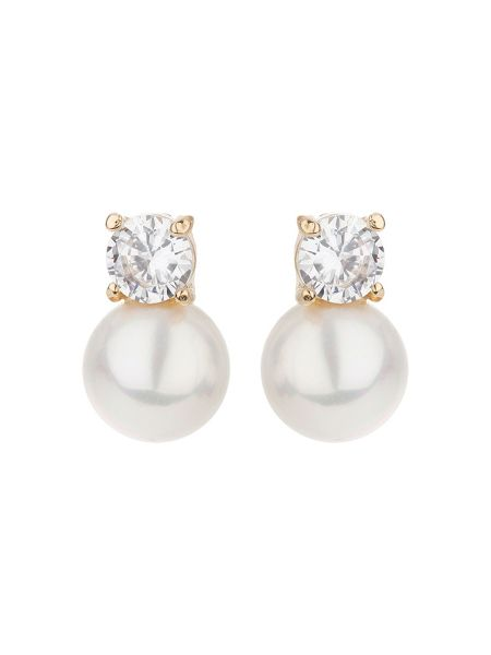 Mikey Crystal stud pearl earring