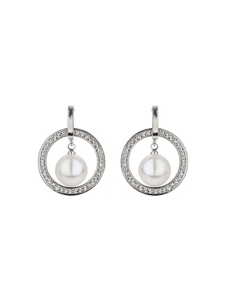Mikey Large crystal circle pearl drop earring