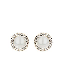 Twisted crystal circle pearl stud earrin